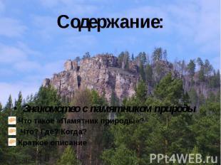Содержание: Знакомство с памятником природы Что такое «Памятник природы»? Что? Г