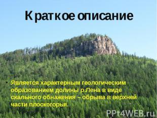 Краткое описание Является характерным геологическим образованием долины р.Лена в