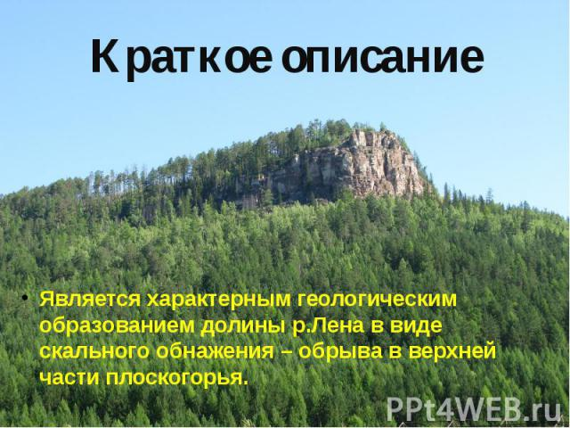 Краткое описание Является характерным геологическим образованием долины р.Лена в виде скального обнажения – обрыва в верхней части плоскогорья.