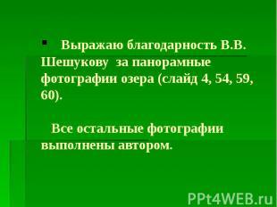 Выражаю благодарность В.В. Шешукову за панорамные фотографии озера (слайд 4, 54,