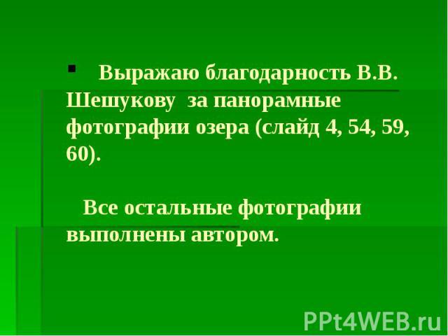 Выражаю благодарность В.В. Шешукову за панорамные фотографии озера (слайд 4, 54, 59, 60). Все остальные фотографии выполнены автором.