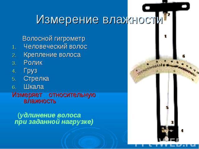 Волосной гигрометр Волосной гигрометр Человеческий волос Крепление волоса Ролик Груз Стрелка Шкала Измеряет относительную влажность (удлинение волоса при заданной нагрузке)