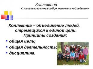 Коллектив – объединение людей, стремящихся к единой цели. Принципы создания: Кол