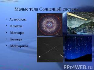Астероиды Астероиды Кометы Метеоры Болиды Метеориты