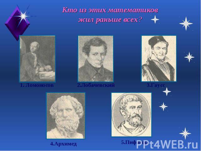 Кто из этих математиков жил раньше всех?