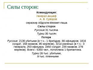 Силы сторон: Командующие: генерал-аншеф А. В.Суворов сераскир Айдозле-Мехм
