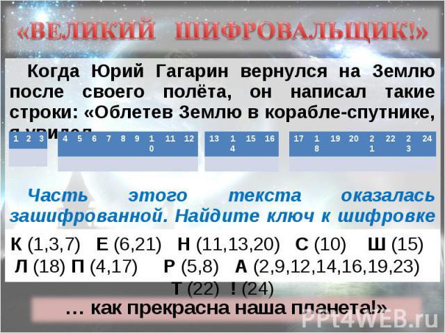 Когда Юрий Гагарин вернулся на Землю после своего полёта, он написал такие строки: «Облетев Землю в корабле-спутнике, я увидел … Когда Юрий Гагарин вернулся на Землю после своего полёта, он написал такие строки: «Облетев Землю в корабле-спутнике, я …