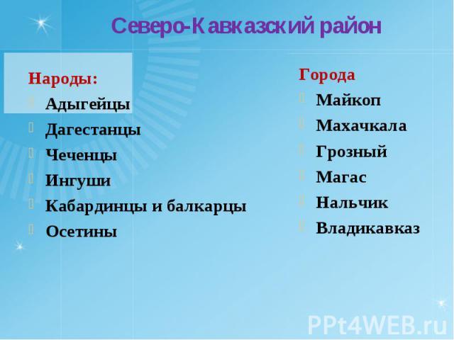 Народы: Народы: Адыгейцы Дагестанцы Чеченцы Ингуши Кабардинцы и балкарцы Осетины