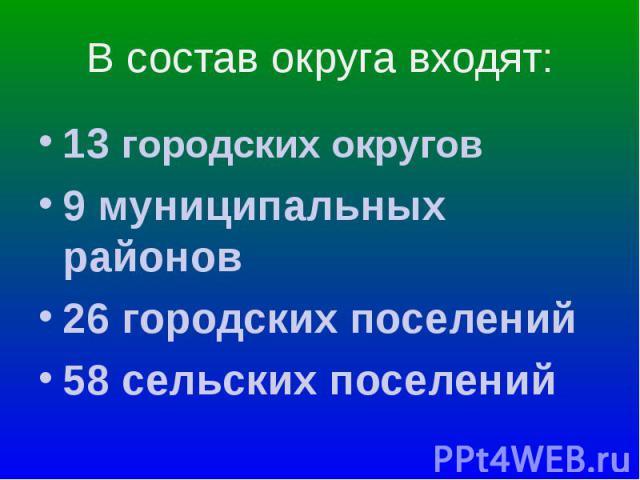 13 городских округов 13 городских округов 9 муниципальных районов 26 городских поселений 58 сельских поселений