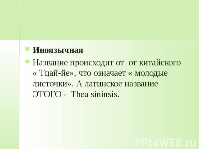 Иноязычная Название происходит от от китайского « Тцай-йе», что означает « молодые листочки». А латинское название ЭТОГО - Thea sininsis.