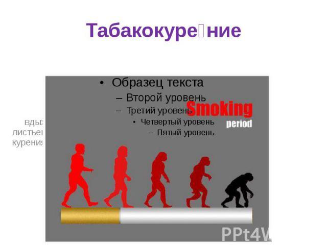 Табакокуре ние вдыханиедыматлеющих высушенных или обработанных листьевтабака, наиболее часто в виде курениясигарет,сигар,курительных трубокиликальяна.