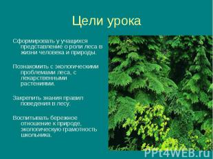 Сформировать у учащихся представление о роли леса в жизни человека и природы. Сф