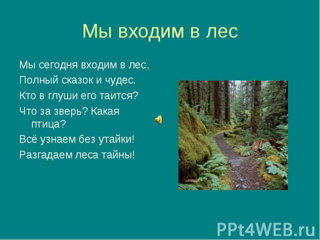 Мы сегодня входим в лес, Мы сегодня входим в лес, Полный сказок и чудес. Кто в глуши его таится? Что за зверь? Какая птица? Всё узнаем без утайки! Разгадаем леса тайны!