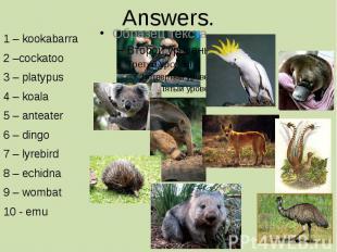 Answers. 1 – kookabarra 2 –cockatoo 3 – platypus 4 – koala 5 – anteater 6 – ding