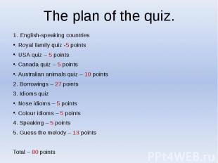 The plan of the quiz. English-speaking countries Royal family quiz -5 points USA