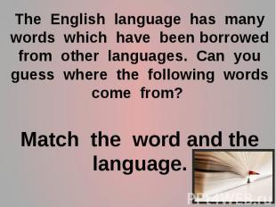 The English language has many words which have been borrowed from other language