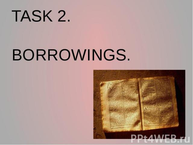TASK 2. BORROWINGS.