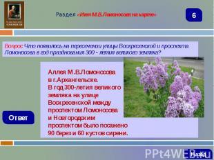 Вопрос Что появилось на пересечении улицы Воскресенской и проспекта Ломоносова в