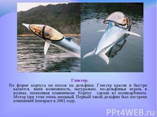 Глиссер. Глиссер. По форме корпуса он похож на дельфина. Глиссер красив и быстро