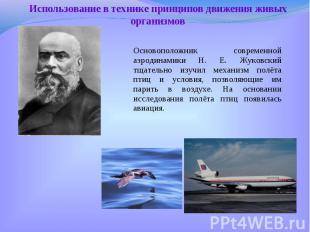 Основоположник современной аэродинамики Н. Е. Жуковский тщательно изучил механиз