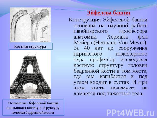 Эйфелева башня Эйфелева башня Конструкция Эйфелевой башни основана на научной работе швейцарского профессора анатомии Хермана фон Мейера (Hermann Von Meyer). За 40 лет до сооружения парижского инженерного чуда профессор исследовал костную структуру …