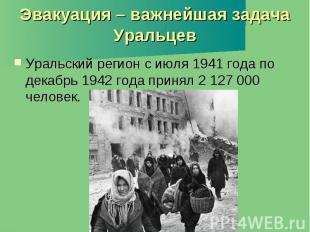 Эвакуация – важнейшая задача Уральцев Уральский регион с июля 1941 года по декаб