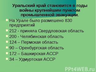 Уральский край становится в годы войны крупнейшим пунктом промышленной эвакуации