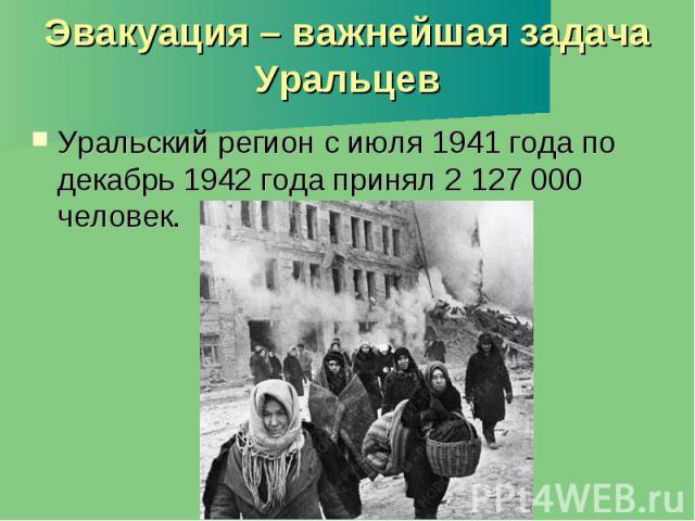 Эвакуация – важнейшая задача Уральцев Уральский регион с июля 1941 года по декабрь 1942 года принял 2 127 000 человек.