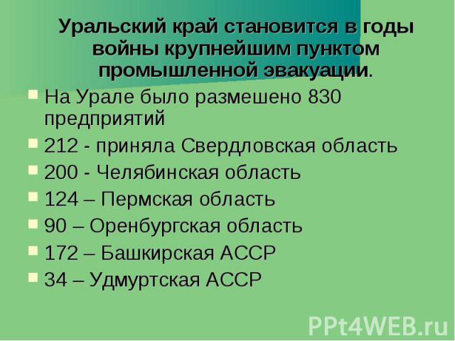 Уральский край становится в годы войны крупнейшим пунктом промышленной эвакуации. Уральский край становится в годы войны крупнейшим пунктом промышленной эвакуации. На Урале было размешено 830 предприятий 212 - приняла Свердловская область 200 - Челя…