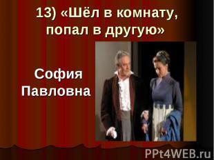 13) «Шёл в комнату, попал в другую» София Павловна