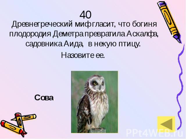 40 Древнегреческий миф гласит, что богиня плодородия Деметра превратила Аскалфа, садовника Аида, в некую птицу. Назовите ее.