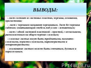 ВЫВОДЫ: - лист состоит из листовых пластин, черешка, основания, прилистника; - л