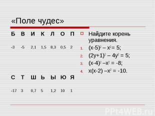 «Поле чудес» Найдите корень уравнения. (х-5)2 – х2 = 5; (2у+1)2 – 4у2 = 5; (х-4)