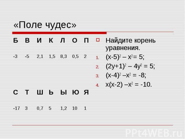 «Поле чудес» Найдите корень уравнения. (х-5)2 – х2 = 5; (2у+1)2 – 4у2 = 5; (х-4)2 –х2 = -8; х(х-2) –х2 = -10.
