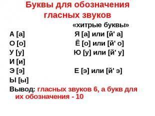 Буквы для обозначения гласных звуков «хитрые буквы» А [а] Я [а] или [й' а] О [о]