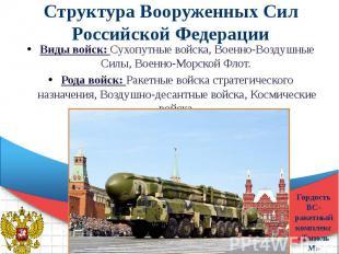 Структура Вооруженных Сил Российской Федерации Виды войск: Сухопутные войска, Во