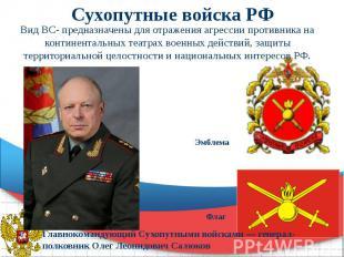 Сухопутные войска РФ Вид ВС- предназначены для отражения агрессии противника на