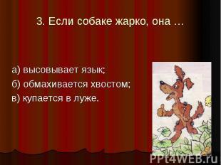 3. Если собаке жарко, она … а) высовывает язык; б) обмахивается хвостом; в) купа