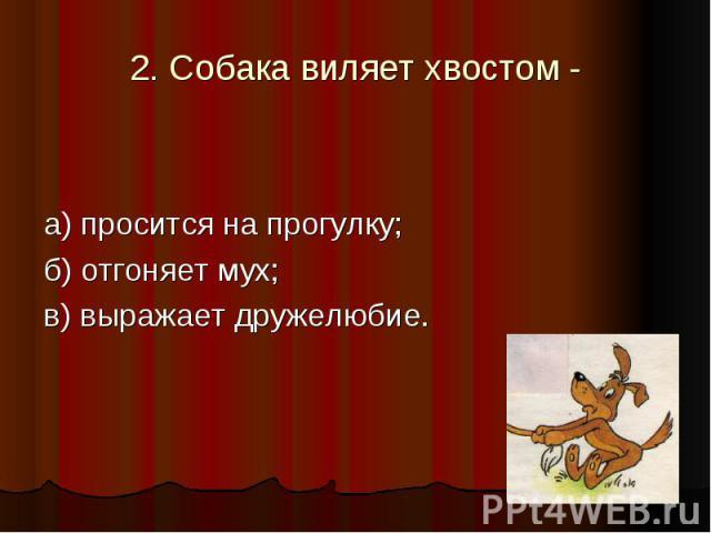 2. Собака виляет хвостом - а) просится на прогулку; б) отгоняет мух; в) выражает дружелюбие.