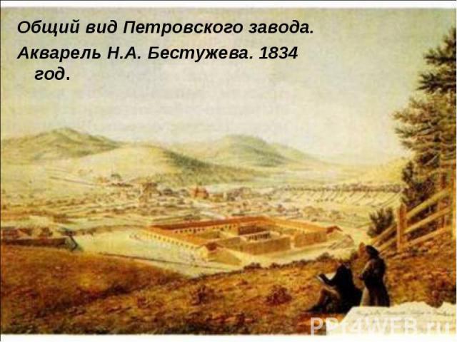 Общий вид Петровского завода. Общий вид Петровского завода. Акварель Н.А. Бестужева. 1834 год.