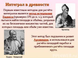 Этот метод был подхвачен и развит Архимедом, и использовался для расчёта площаде