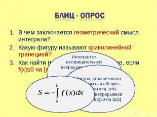 В чем заключается геометрический смысл интеграла? В чем заключается геометрическ