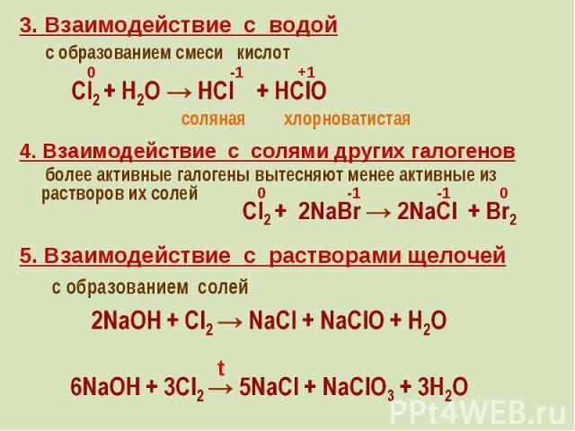 3. Взаимодействие с водой 3. Взаимодействие с водой с образованием смеси кислот