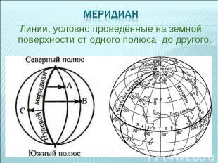 Линии, условно проведённые на земной поверхности от одного полюса до другого. Ли