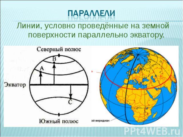 Линии, условно проведённые на земной поверхности параллельно экватору. Линии, условно проведённые на земной поверхности параллельно экватору.