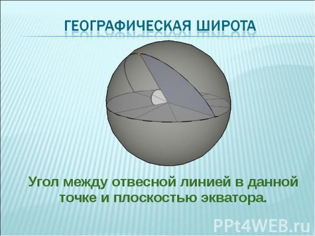Угол между отвесной линией в данной точке и плоскостью экватора. Угол между отвесной линией в данной точке и плоскостью экватора.