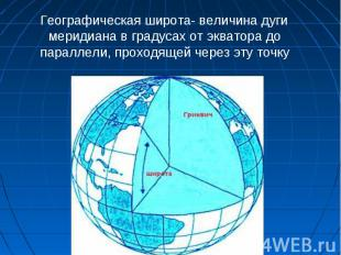 Географическая широта- величина дуги меридиана в градусах от экватора до паралле