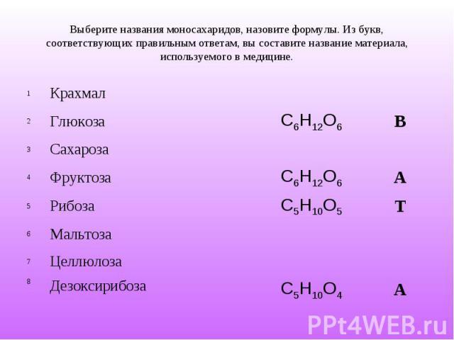 Выберите названия моносахаридов, назовите формулы. Из букв, соответствующих правильным ответам, вы составите название материала, используемого в медицине.