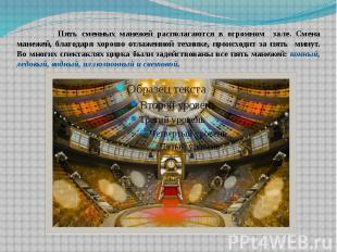 Пять сменных манежей располагаются в огромном зале. Смена манежей, благодаря хор