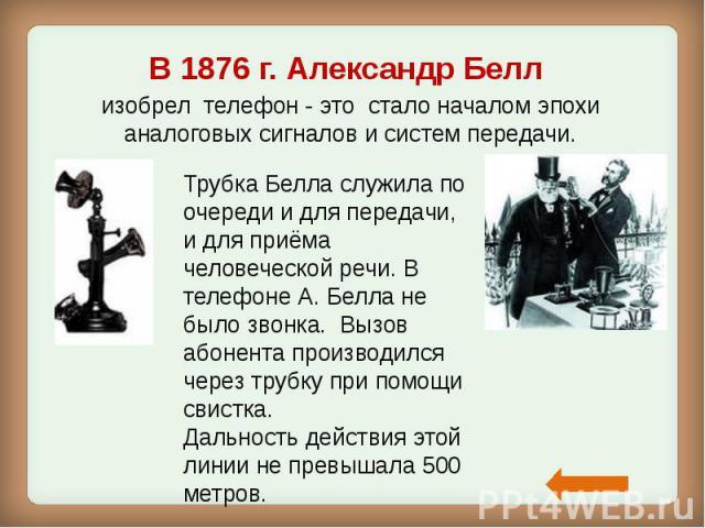 В1876 г. Александр Белл В1876 г. Александр Белл изобрел телефон - это стало началом эпохи аналоговых сигналов и систем передачи.